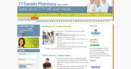 77Canadapharmacy.com Internet Drugstore