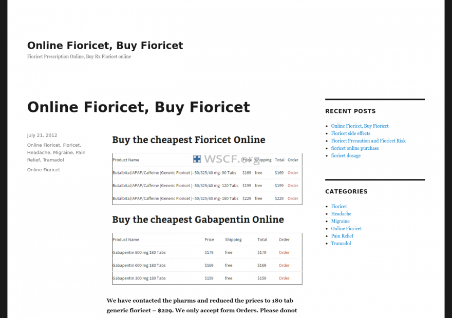 Fioricetrx.net Free Samples