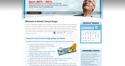 Genericcancerdrugs.com Website Drugstore