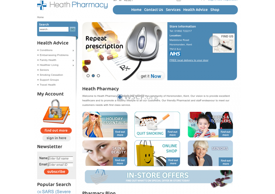Heath-Pharmacy.co.uk All time On-line Support