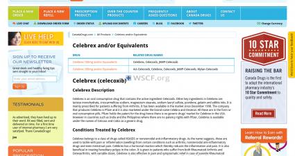 Wwwcelecoxib.com Website Pharmaceutical Shop